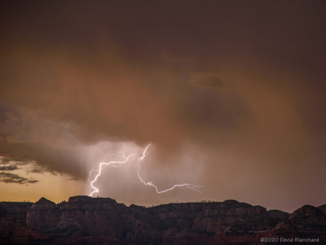 Lightning at sunset over the Mogollon Rim viewed from Sedona.