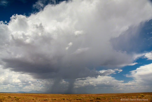 A weak thunderstorm near Two Guns, Arizona.