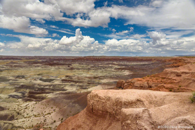 Small cumulus clouds over the Painted Desert.