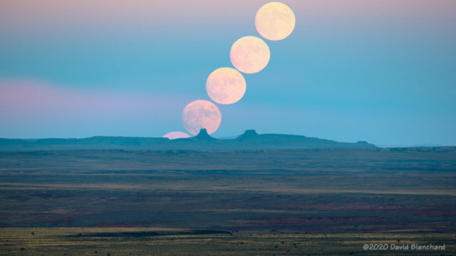 Sequence of the Moon rise.