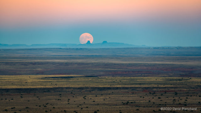 Harvest Moon rises above the Painted Desert.