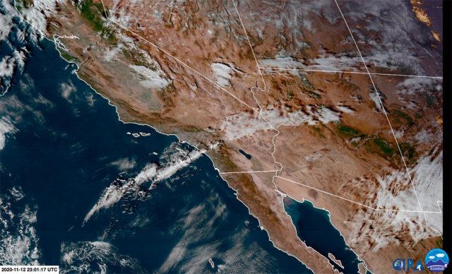 Satellite image showing streak of cirrus clouds moving across northern Arizona.
