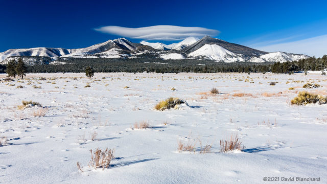 Wide-angle view of wave clouds over the San Francisco Peaks.
