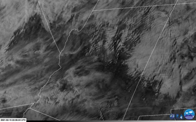 GOES-16 visible satellite imagery shows numerous wave clouds across northern Arizona
