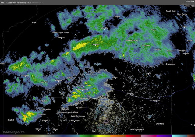 Radar depiction of precipitation across northern Arizona at 1:51 P.M. on 13 February 2021. Note the small lightning symbols near Flagstaff showing locations of cloud-to-ground lightning.