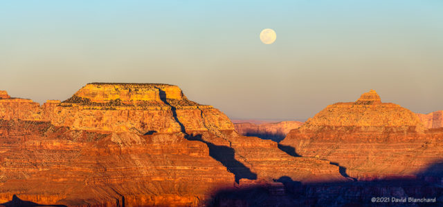 Moonrise between Wotans Throne and Vishnu Temple in Grand Canyon.