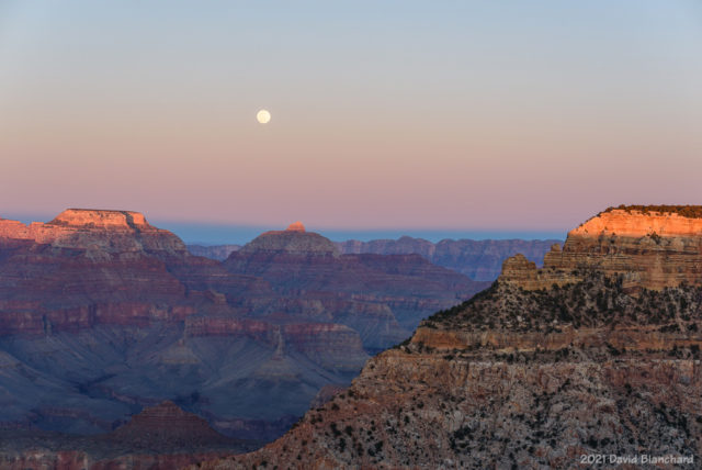 Moonrise with Earth's shadow over Grand Canyon.