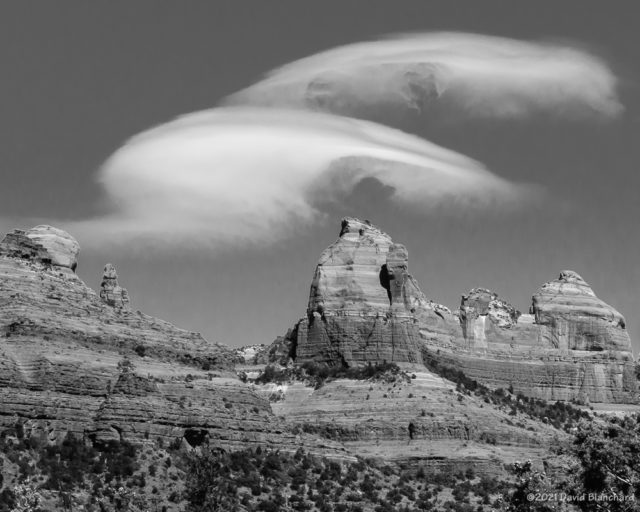 Wave clouds above MItten Ridge in Sedona.
