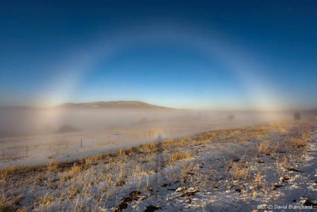 Fog bow with Glory and Brocken spectre.