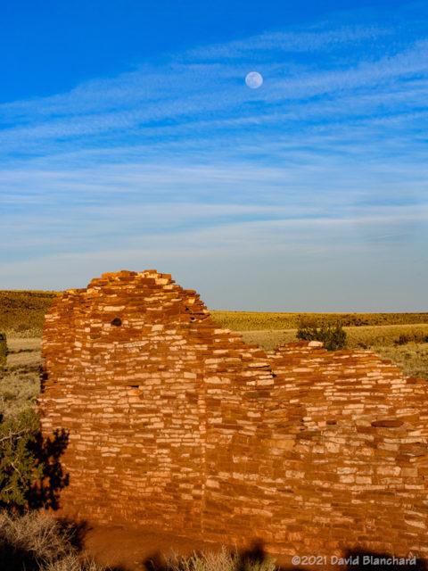 Moonrise above Lomaki Pueblo.
