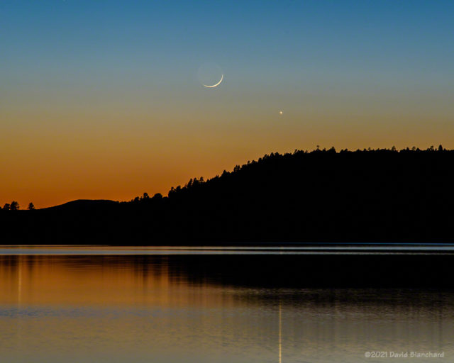 The Moon and Venus during evening twilight.