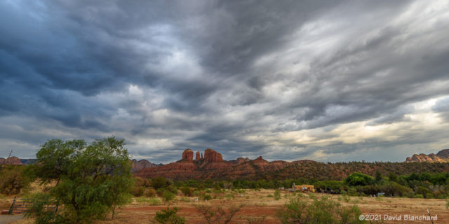 Clouds develop across the whole sky in Sedona.