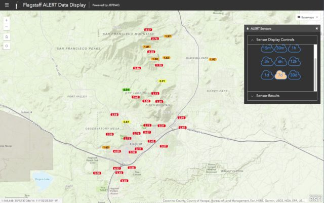 Seven-day rainfall totals around Flagstaff.