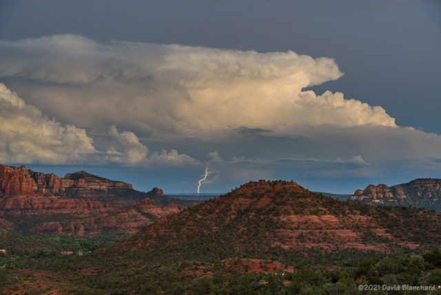 Lightning from a distant storm after sunset.