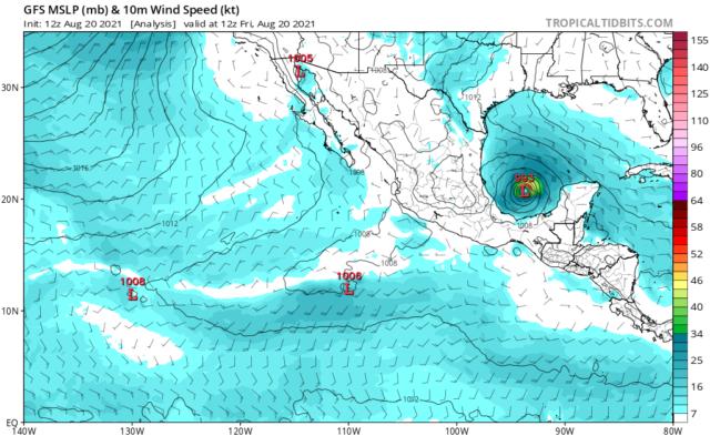 Hurricane Grace at 1800 UTC 20 August 2021. (Image courtesy TropicalTidbits.com)