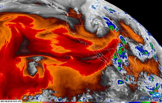 Water vapor satellite imagery for 0210 UTC 20 August 2021.