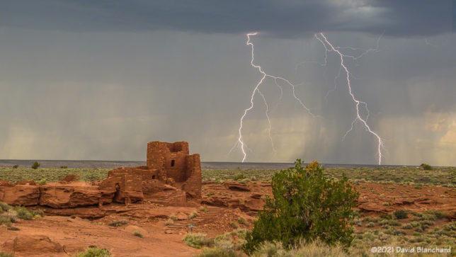 Lightning at Wukoki Pueblo in Wupatki National Monument.