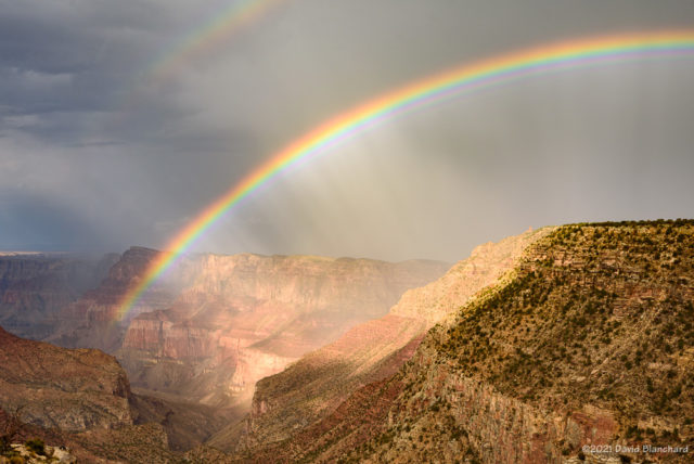 A closer look at the rainbow inside Grand Canyon.