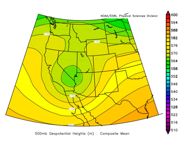 Composite 500-mb height field for the 19 tornado event days.