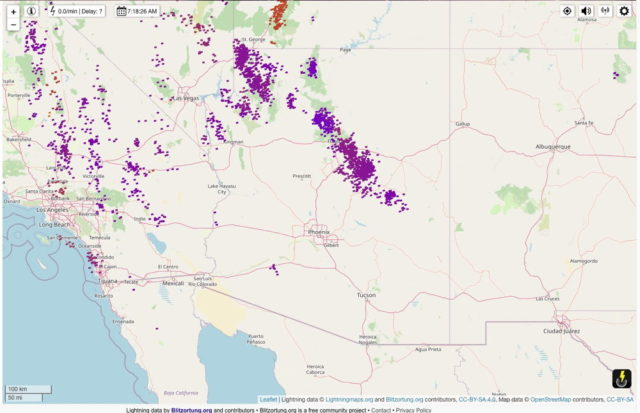 24-hour lightning map.