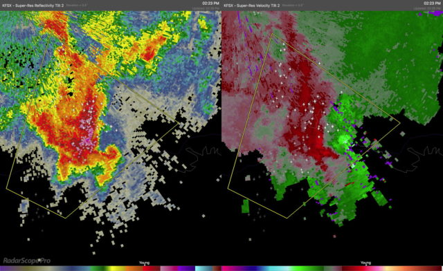 Severe thunderstorm with a hook echo (left) and strong velocity couplet (right). The box indicates that a Severe Thunderstorm Warning is in effect for this storm.